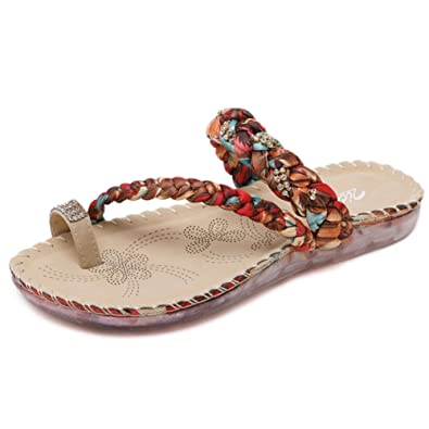 a805f8ee4b5 Zicac Women s Woven Clip Toe Slippers Summer Flats Sandals Beach Shoes (9