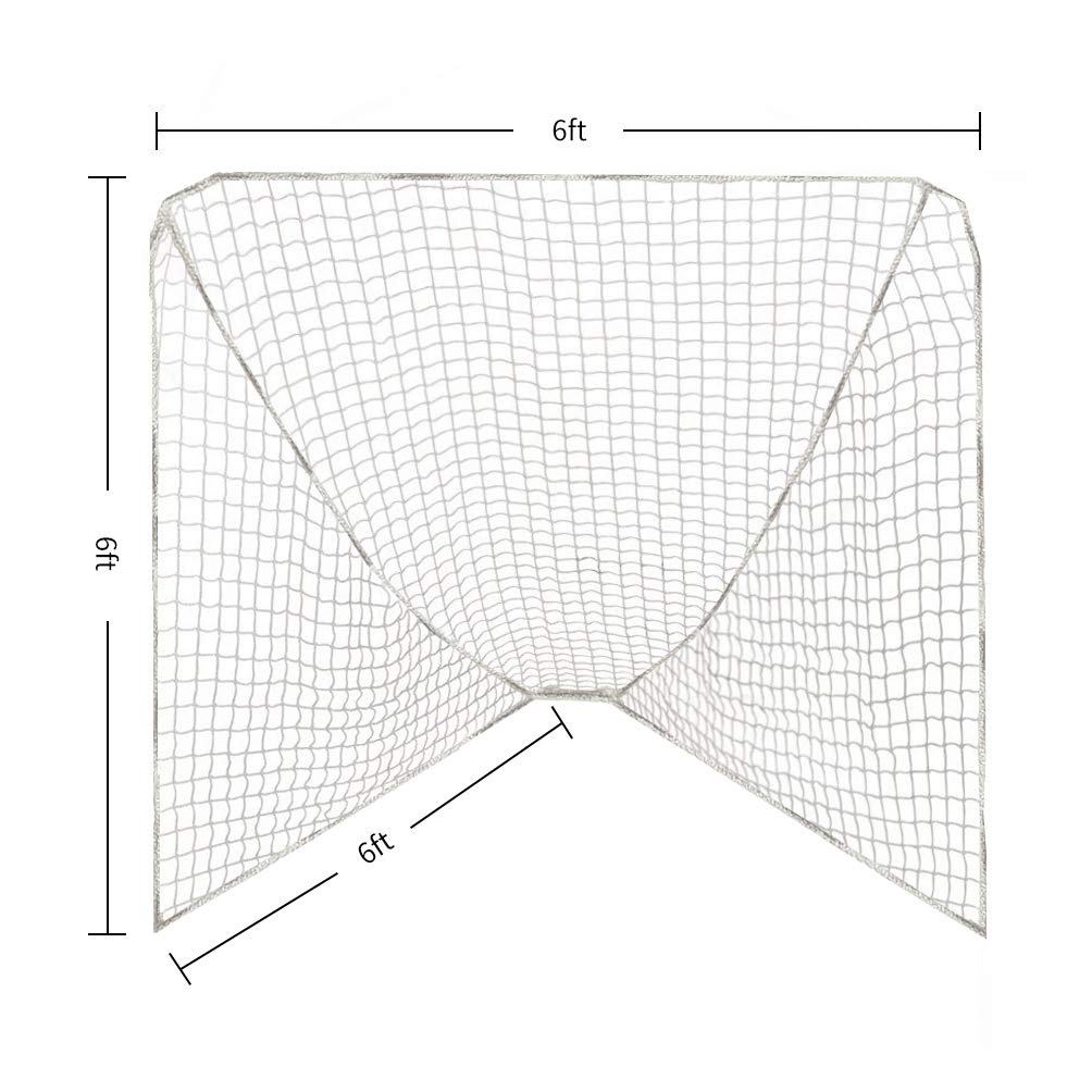 Fit 6 x 6 x 6 ft and 6 x 6 x 7 ft Goal Aoneky 6/' x 6/' Replacement Lacrosse Goal Net Only The Netting
