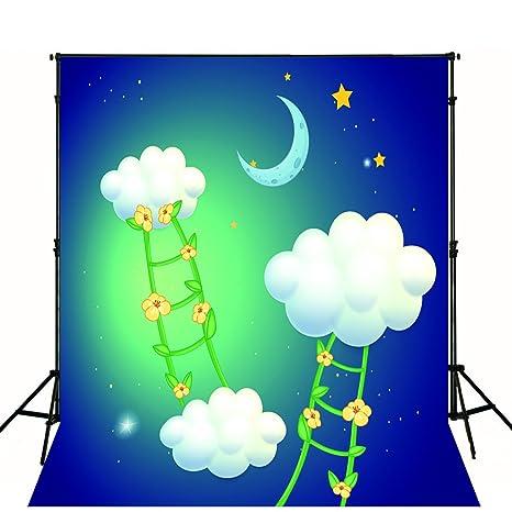 Cartoon Bambini Foto Fondale Bianco Nuvole Fiori Ladder Moon Star