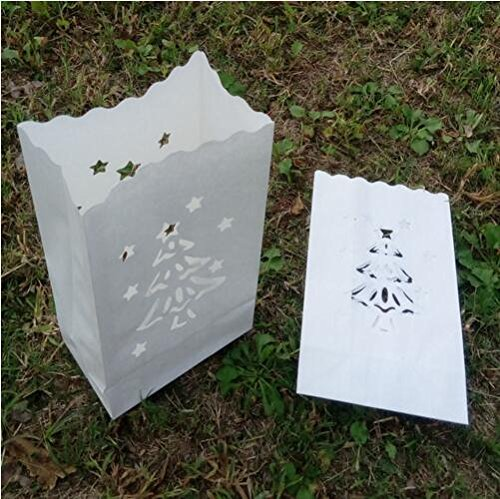 Fascola Christmas Tree Luminary Bag Candle Bag Light Holder for Home Outdoor Christmas Wedding Reception Holiday Party and Event Occasion Decoration - Flame Resistant Paper - 20 Count