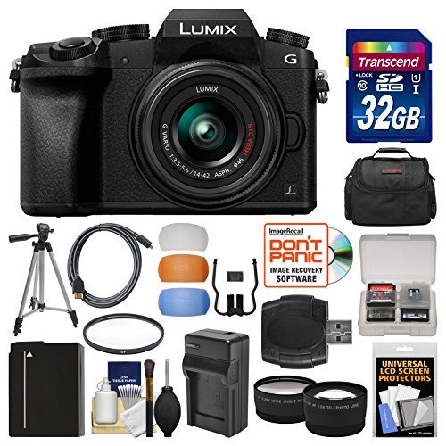 - Panasonic Lumix DMC-G7 4K Wi-Fi Digital Camera & 14-42mm Lens (Black) with 32GB Card + Case + Battery & Charger + Tripod + Tele/Wide Lenses Kit