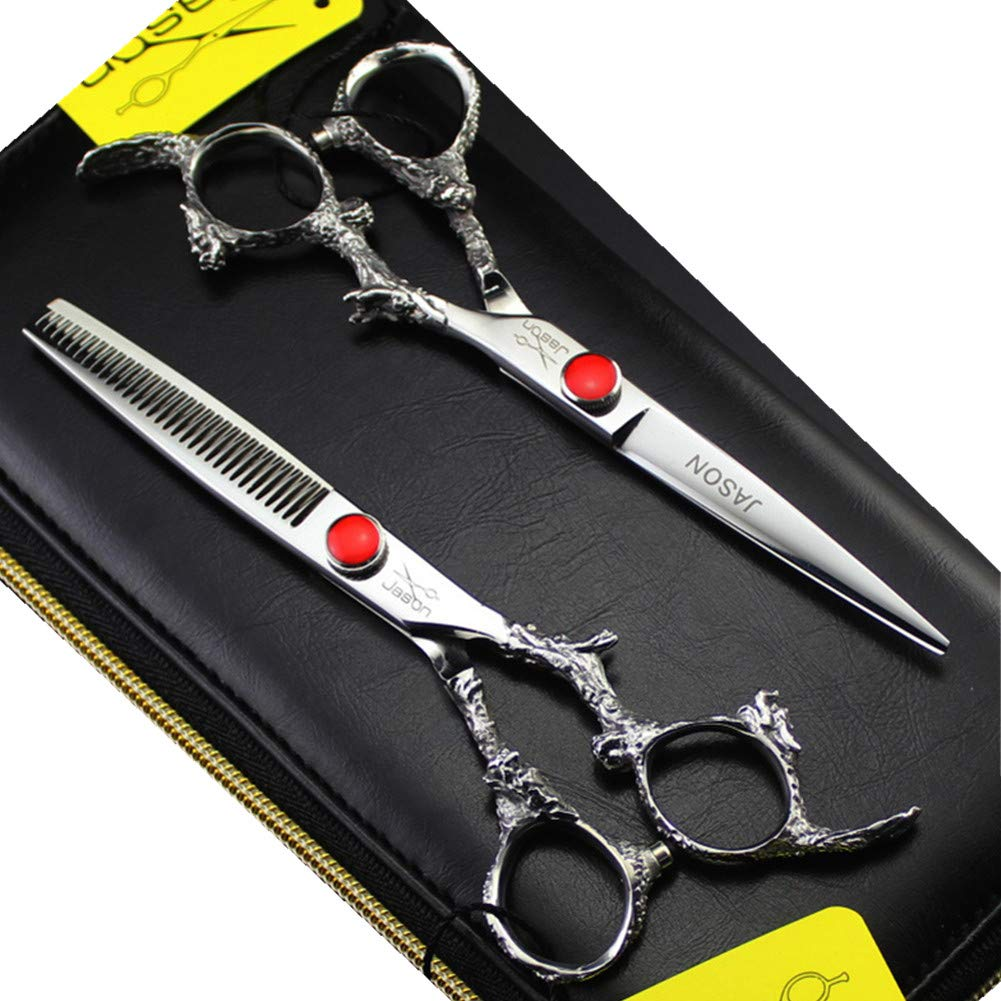 6.0 inch Professional Hair Cutting Scissors & Salon Blending Thinning Shears Scissors with Leather Bag for Barbershop