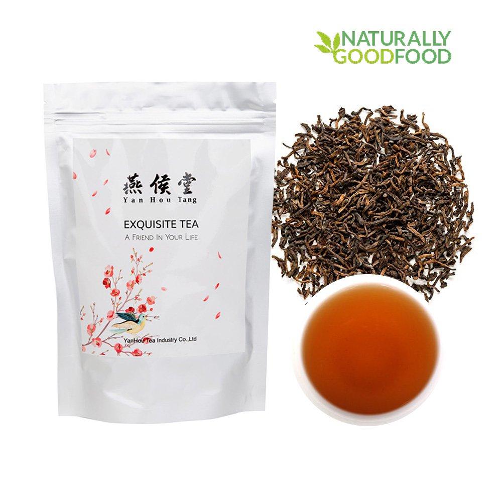 Yan Hou Tang Chinese Yunan Puerh Organic Detox Black Tea 10 Years Aged Puer Tea Bulk Leaf 100g for Energizing Weight Loss and Stress Reduce