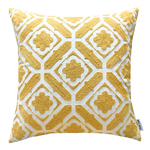 SLOW COW Cotton Embroidered Cushion Cover Floral Pattern Designs Throw Pillow Cover 18x18 Inch Yellow