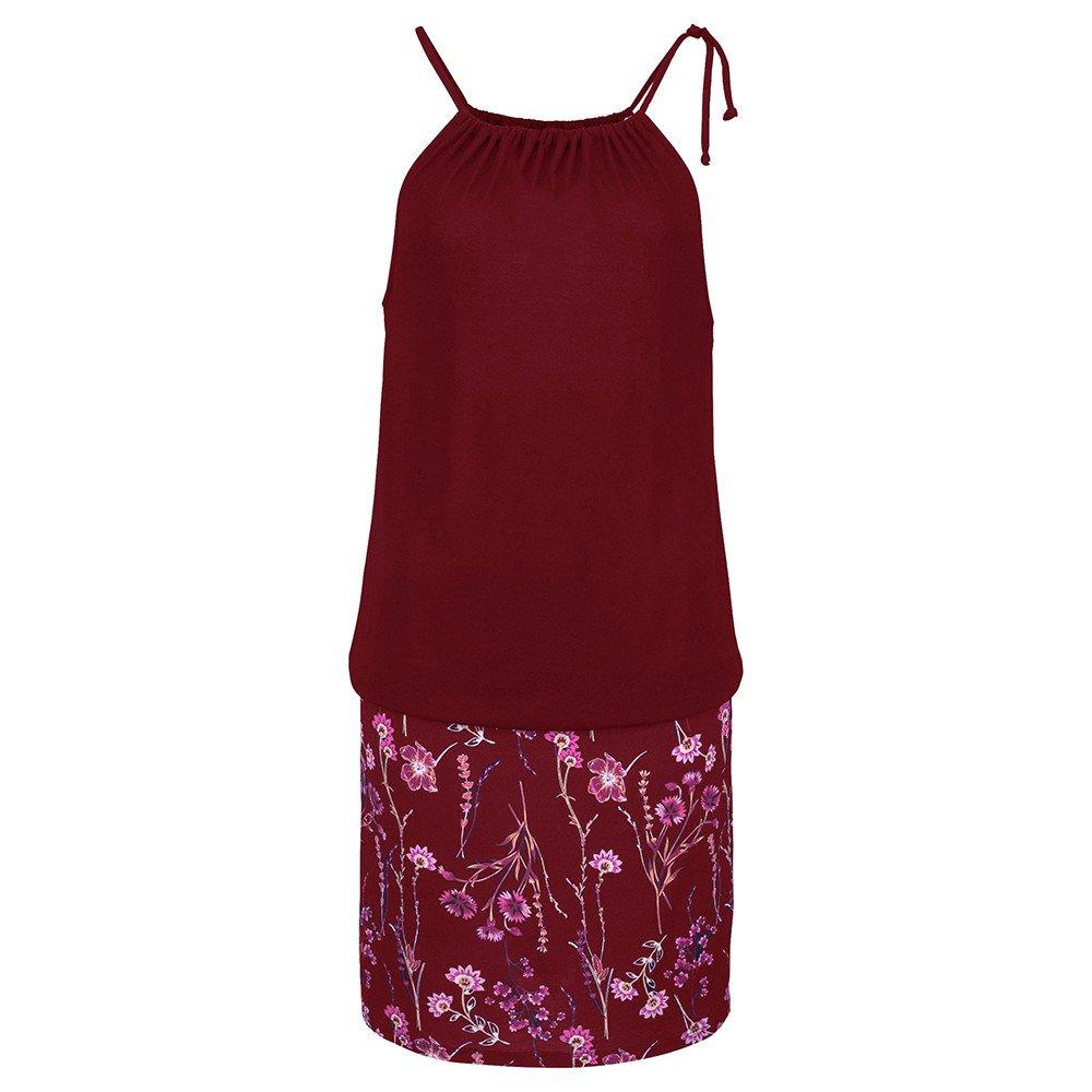 NRUTUP Elegant Womens Casual Sleeveless Spaghetti Retro Straps Print Mini Dress Beach Dress (Wine Red,2XL) by NRUTUP (Image #2)