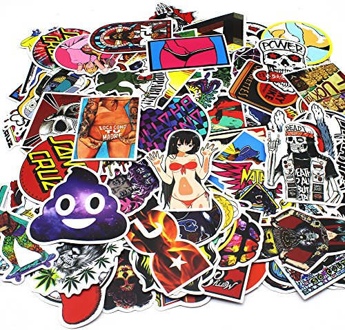 Nuoxinus Car Stickers [100pcs], Laptop Stickers Skateboard Luggage Bike Motorcycle Bumper Stickers, Snowboarding Guitar Helmet Graffiti Decals, Fashion Cool Unique Mix Lot Random Vinyls Stickers (Stickers And Decals)