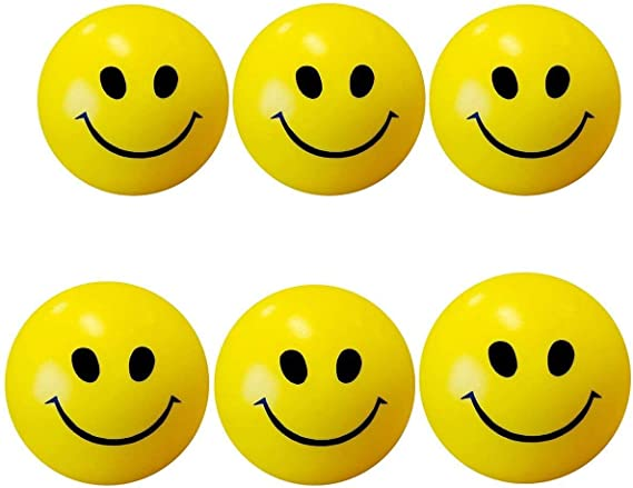 ToyStack Smiley Face Squeeze Balls for Kids and Adults for Stress Relief and Playing (Yellow, 5 cm) Set of 6