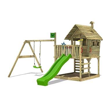 Berühmt FATMOOSE Spielturm WackyWorld Spielhaus auf Stelzen mit großem YN24