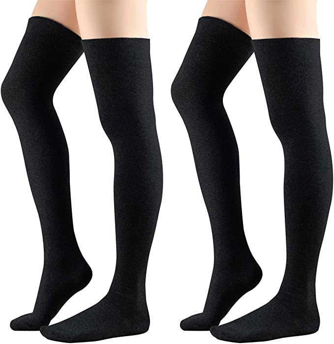 1f577fa7f Durio Womens Thigh High Socks Solid Cosplay Over the Knee Boots Socks for  Women Non Slip