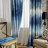 KoTing Blackout Lining Drapes,Dream of Foggy Blue Tree Forest Window Curtains for Living