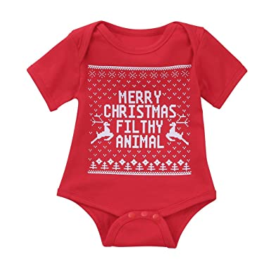 fa152c554 Amazon.com  CieKen 2019 Baby Letter Print Short Sleeve Romper Infant ...