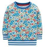 Fiream Girls Cotton Crewneck Cute Embroidery Sweatshirts(120Blue,5)