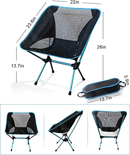 W-ShiG Ultralight Portable Folding Camping Backpack Chairs with Carry Bag, Outdoor Collapsible Beach Chair Backpack Compact Heavy Duty for Fishing Camping Hiking BBQ Travel Picnic