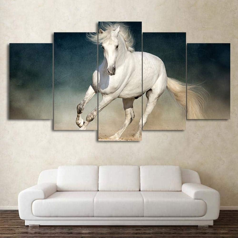 TXFMT Sin marco lienzo decoración pintura hecha a mano DIY Animal negro y marrón carreras de caballos Cuadro En Lienzo 5 Partes Pintura Mural Obra Impresión En Lienzo Arte Impresión De La Lona Decorac