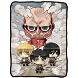 Classic Imports Attack on Titan Chibi Characters Fleece Blanket