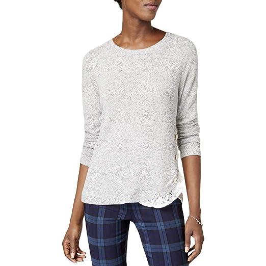 8d927c88 Amazon.com: Maison Jules Womens Embellished Lace-Trim Pullover Top ...