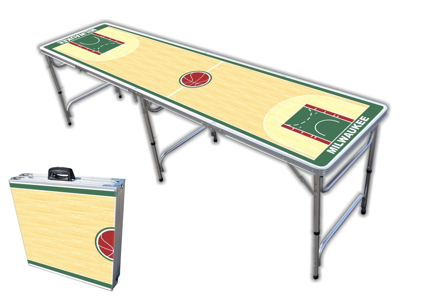 8-Foot Professional Beer Pong Table - Milwaukee Basketball Court Graphic by PartyPongTables.com