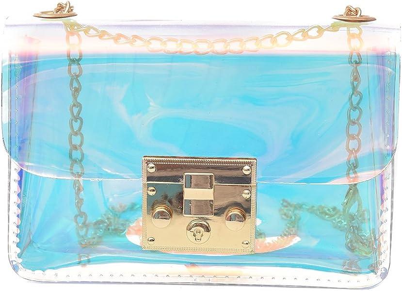16c1c77315 SODIAL Borsa donna trasparente Borsa PVC trasparente gelatina piccola Tote  Borse a tracolla -Holographic Donna Borsa da donna
