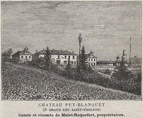 - SAINT-ÉTIENNE-DE-LISSE Chateau Puy-Blanquet 2e Grand Cru St-Émilion SMALL - 1908 - old print - antique print - vintage print - Gironde art prints