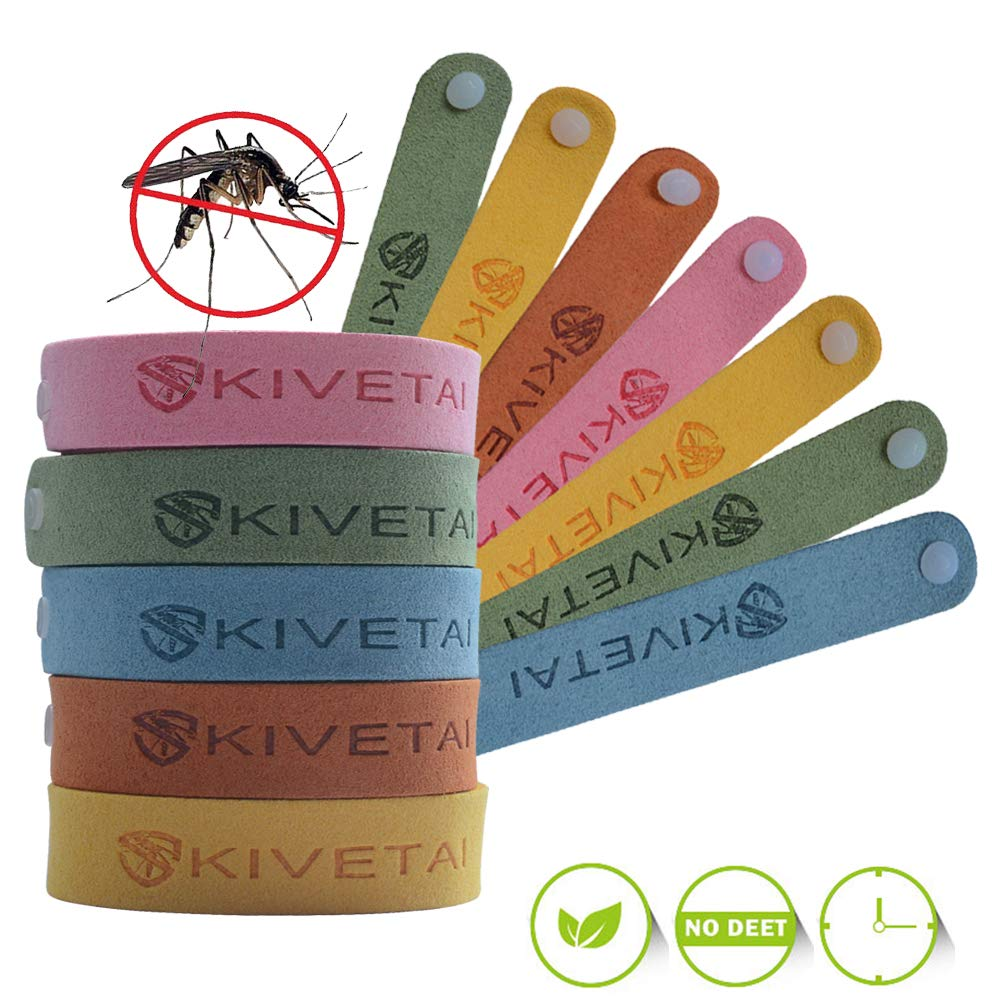 KIVETAI Mosquito Repellent Bracelet 12 Packs- Insect Repellent Bands All Natural Anti Mosquito Bracelet Travel Repellent Mosquito Waistbands Deet-Free Non Toxic Safe For Kids and Adults