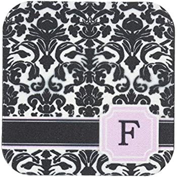 3dRose Personal Initial K Monogrammed Pink Black and White Damask Pattern Girly Stylish Personalized Letter Ceramic Tile Coasters CST/_154386/_3 Set of 4