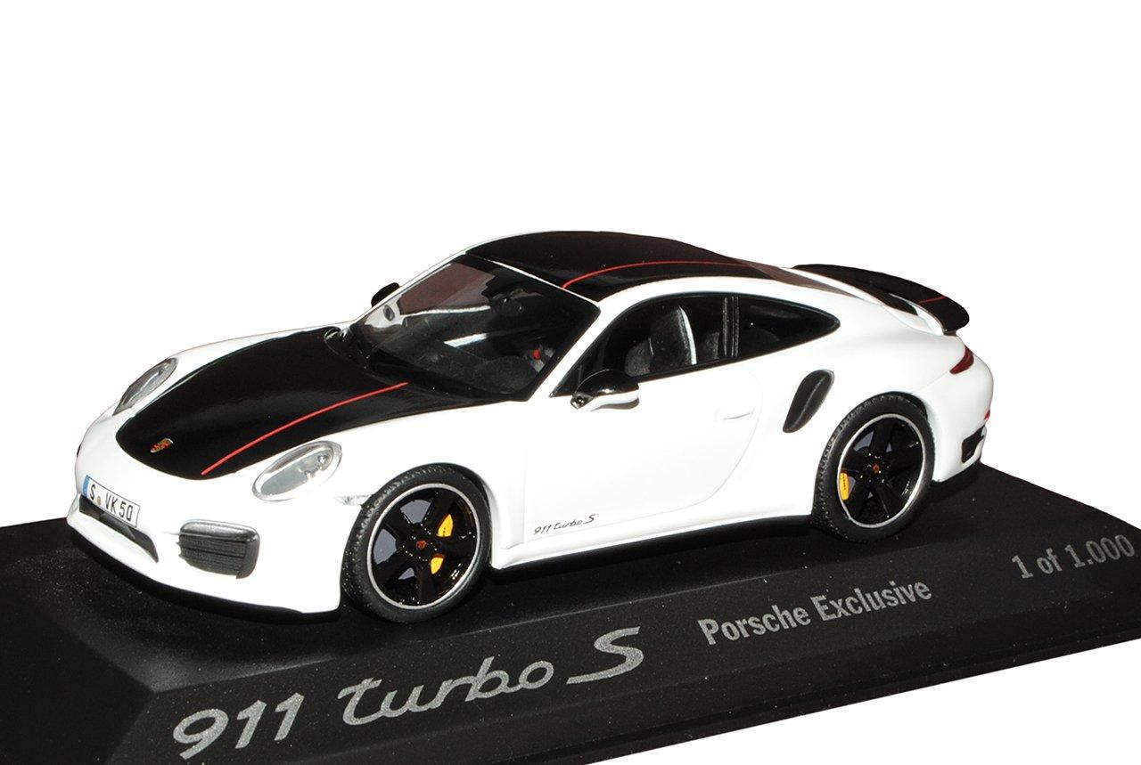 Minichamps Porsche 911 991 Turbo S Exclusive Coupe Weiss Schwarz Ab 2011 1/43 Modell Auto mit individiuellem Wunschkennzeichen