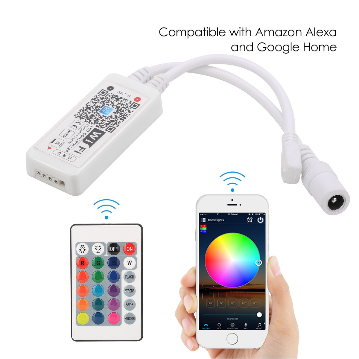 YiHong WiFi LED Controller for Strip Lights Smart Controller with Remote for LED RGB Light Strip Compatible with Alexa Google Home
