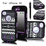 E-LV Unique Tribal Stylish Design Hard Soft High Impact Hybrid Armor Defender Case Combo for Apple iPhone 4 4S 4G 4th Generation with 1 Black Stylus and E-LV Microfiber Digital Cleaner (Purple), Best Gadgets