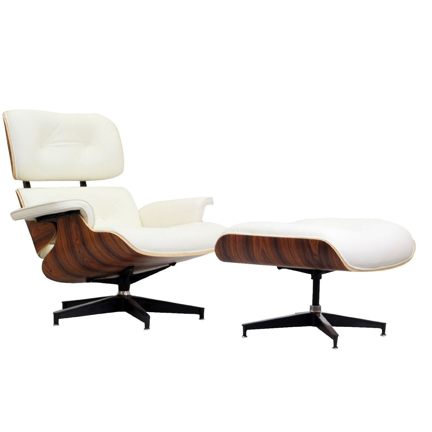 Nicer Furniture® Eames Lounge Chair And Ottoman White 100% Italian Genuine  Full Grain Leather With Walnut Wood Finish Best Seller Eames Lounger  Everyone ...