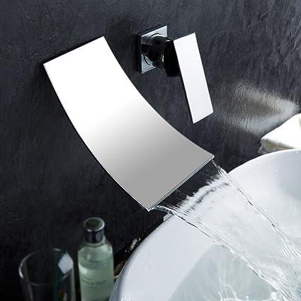KES Wall Mount Bathroom Faucet Waterfall Lavatory Sink Faucet Single Handle  Lead Free BRASS Body