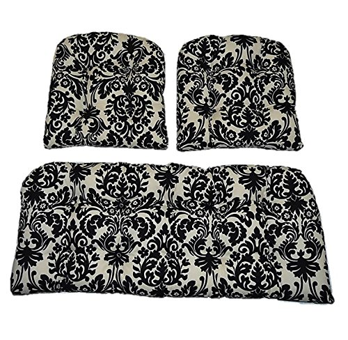 Settee Set (3 Piece Wicker Cushion Set - Black and Ivory / Cream Damask Scroll Indoor / Outdoor Fabric Cushion for Wicker Loveseat Settee & 2 Matching Chair Cushions)