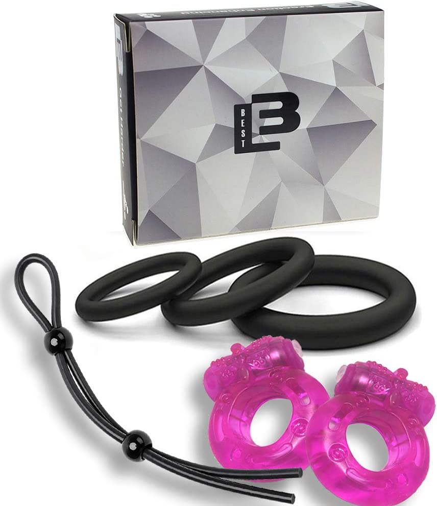 Super Soft Vibrating Cockring for Male - 6 Per Pack Cock Rings 100% Medical Grade Pure Silicone Penis Ring Set for Extra Stimulation - Better Sex Toy for Erection Enhancing and Last Longer Orgasm