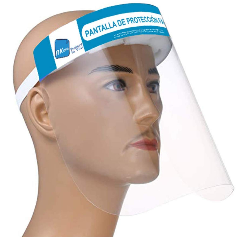 NK - Pantalla Protección Facial Transparente (Pack x10 uds), Pantalla Protectora Cara, Protector Facial, Visera Protectora con cinta ajustable