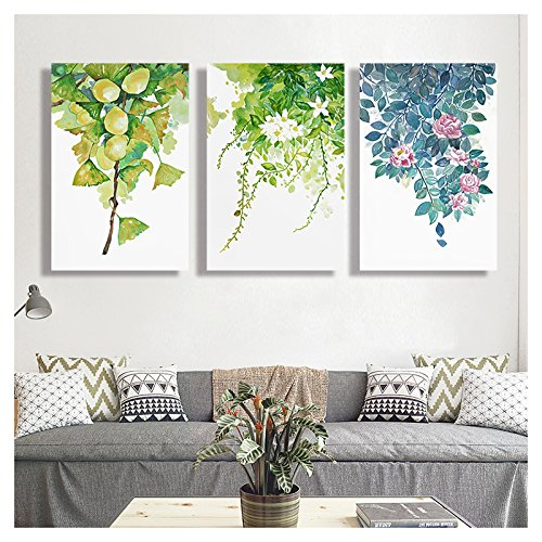 Leaves and Flowers Watercolor Style Painting x3 Panels