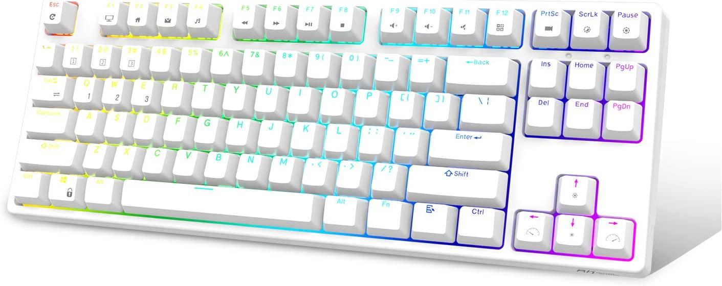 RK ROYAL KLUDGE RK87 RGB Wireless/Wired 80% TKL Mechanical Keyboard, NKRO 87 Keys Bluetooth Gaming Office Keyboard with Rechargeable Battery for Windows and Mac