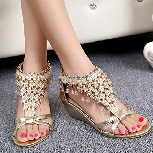 Solshine Damen Sommer Strass Perlen Offene Zehen mit Keilabsatz Sandalen Gold