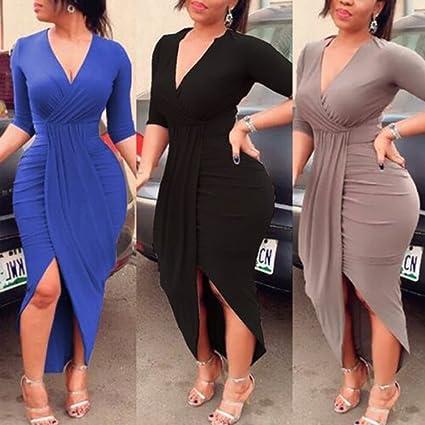 Amazon Wensltd Womens Plus Size Elegant V Neck Bandage Bodycon