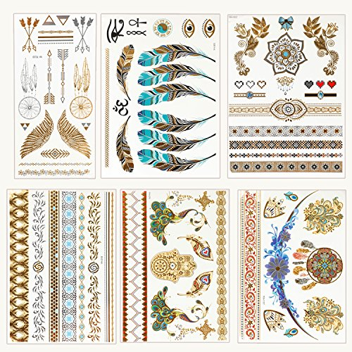 Osportfun 6 Sheets Gold Silver Color Flash Star Feather Golden Metallic Waterproof Temporary Tattoos Art Stickers for Women, -