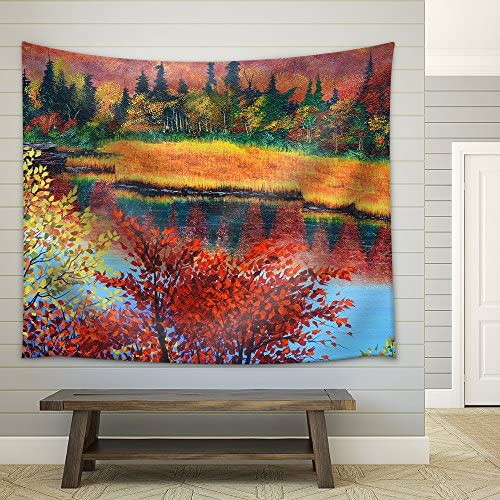 wall26 – River in Fall Oil Painting on Canvas – Fabric Wall Tapestry Home Decor – 68×80 inches