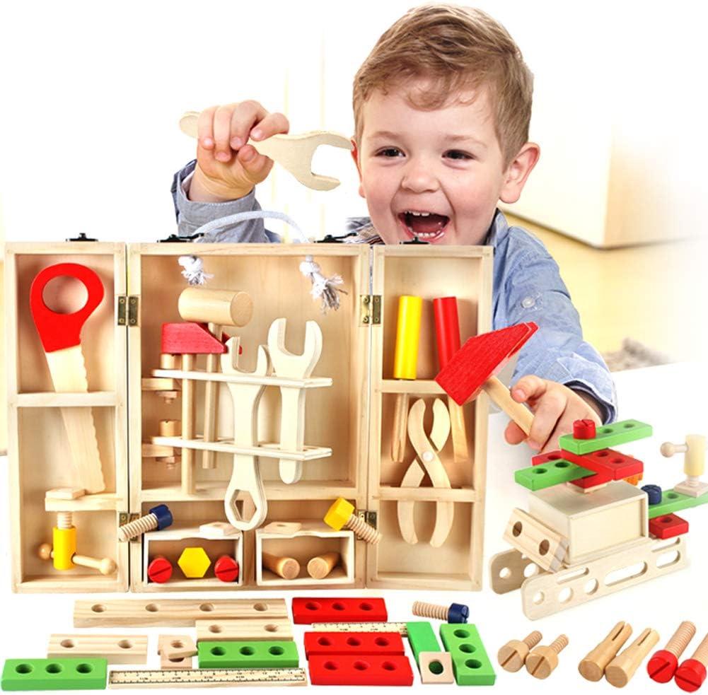 Buyger Juguetes de Madera Caja Herramientas Juguete Construcciones Juegos de Imitación para Niños
