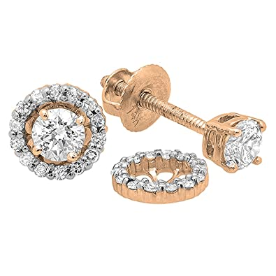 4991cb1fc Amazon.com: Dazzlingrock Collection 0.45 Carat (ctw) 14K Round Diamond  Ladies Stud Earrings With Removable Jackets 1/2 CT, Rose Gold: Jewelry