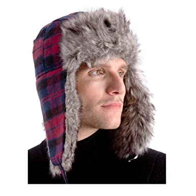 96a80b2ed8b8e Image Unavailable. Image not available for. Colour  Mens  Warm Trapper Hat  With Faux Fur Trim   Ear Flaps ...