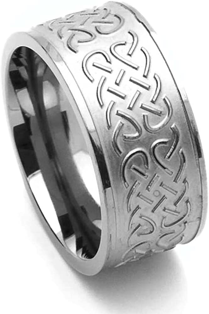 Double Accent Custom Engraving 10MM Comfort Fit Titanium Wedding Band Celtic Knot Wide Promise Ring