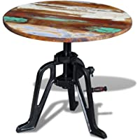 vidaXL Recycled Timber Side Coffee Table Height Adjustable Cast Iron Base Retro