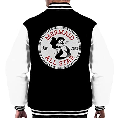 64272cf55e22 Little Mermaid Ariel All Star Converse Logo Men s Varsity Jacket ...