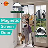 Mecfocus-NEW Magnetic Screen Door 43.3x94.5'' MAX, Width and Length Adjustable by Cut, Special Top Reinforced Fixer, Full Frame Velcro,  Easy Screen Door With Magnets, Anti Bug,Mosquito,Fly