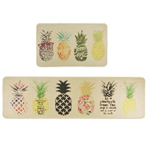 Wolala Home Natural Rubber 2 Pieces Sets Non-Slip Kitchen Rug and Carpet Fruit Pineapple Comfortable Resist Fatigue Laundry Room Area Rugs Bedside Rug Runner Doormat (18''x29''+18''x59'', Pineapple)