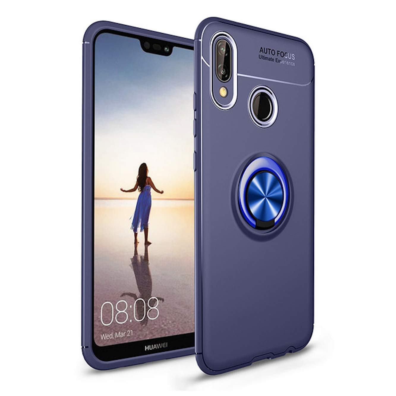 hot sale online f717c e9965 Spazy Case® Huawei Nova 3i Back Case Cover Shock Proof Ring Stand for  Huawei Nova 3i-Blue