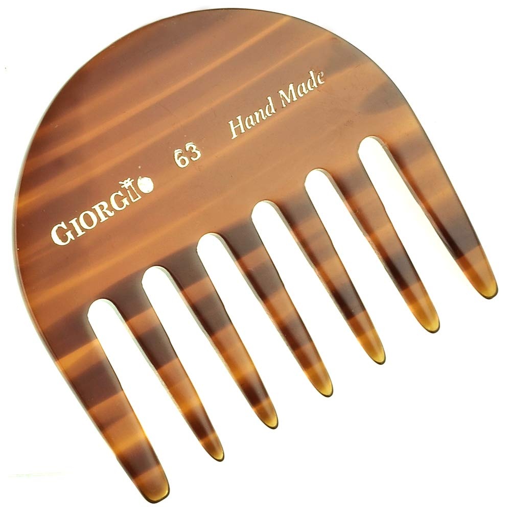 Giorgio G63 2 3/4'' Hand Made Tortoise Detangling Comb - Wide Teeth Flexible Comb. Hand-Made of quality Durable Cellulose , Saw-cut and Hand Polished. (2-Pack) by GIORGIO