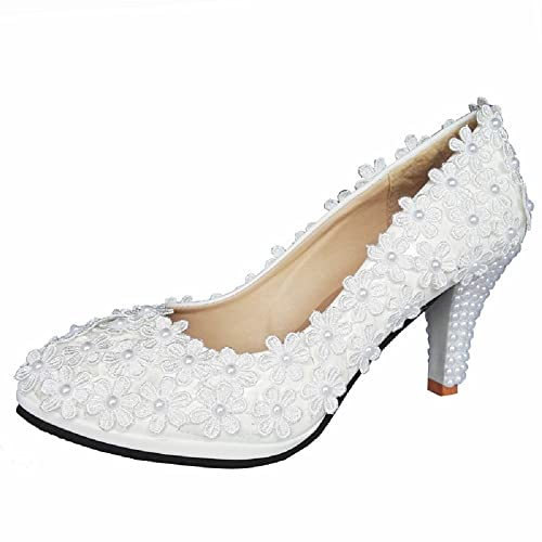 d633288d68bb THE LONDON STORE Women s White Pearl Lace Wedding Pumps  Buy Online at Low  Prices in India - Amazon.in